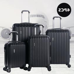 4PCS Luggage Travel Set Bag ABS Spinner Suitcase Lock Black