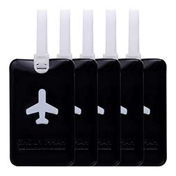 Goplus 5 Pack Luggage Tags Suitcase Labels, Flexible Travel