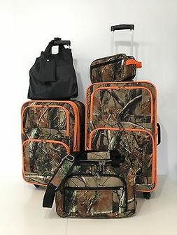 5 Pc. Luggage Suitcase Set Camo color with Hunter Orange Tri