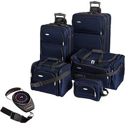 Samsonite 5 Piece Nested Luggage Set Navy  with Samsonite Po