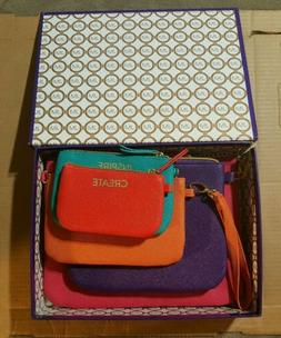 Joy Mangano 5 Piece Pouch Set In Beautiful Bright Colors  !