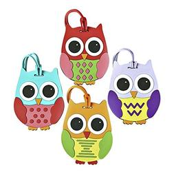Colorful Unique Owl Luggage or Backpack ID Tags