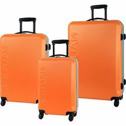 Nautica Ahoy Hardside Spinner Orange Silver 3 Piece Luggage