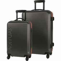 Nautica Ahoy Hardside Spinner Dark Grey Orange 2 Piece Lugga