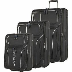 Nautica Airdale 3 Piece Expandable Luggage Set Black Silver