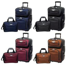 amsterdam 2pc carry on expandable rolling luggage