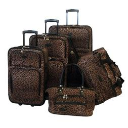 Animal Print 5 Piece Luggage Set - Color: Leopard