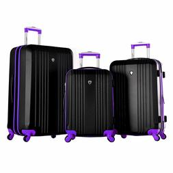 Olympia Apache 3pc Hardcase Spinner Luggage Set, Black/Purpl