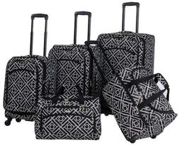 American Flyer Astor 5-Piece Spinner Luggage Set, Black/Whit