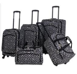 American Flyer Astor 5 Piece Spinner Luggage Set Black White