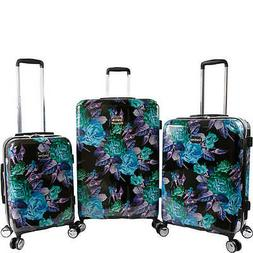 BEBE Rosette 3 Piece Set Suitcase with Spinner Wheels