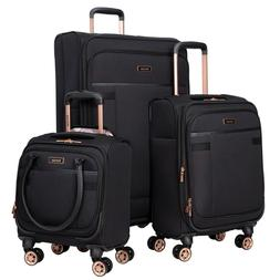 "BLACK 3PC Exp Soft Spinner Luggage Set with 28"", 20"" & 16"" U"