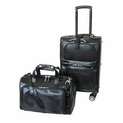 Amerileather Black Leather Croco-Print 2-Piece Carry-On Spin