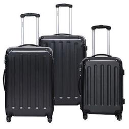 Black Lightweight ABS 3 Pc Luggage Set w/ Multi Directional