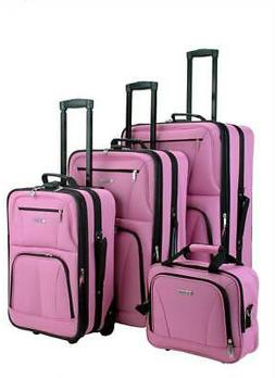 ROCKLAND 4PC BLACK LUGGAGE SET PINK