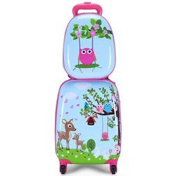 """Blue 2 pcs 12"""" & 16"""" ABS Children's Suitcase Backpack Luggag"""