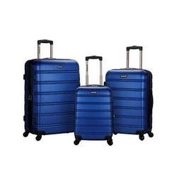 Blue 3 Piece Luggage Set Suitcase Suitcases For Travel Hard