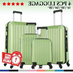 4 Piece ABS Luggage Set Lightweight Travel Hardcase Suitcase