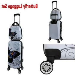 Butterfly Luggage Set Hard Shell Expandable with Spinner Whe