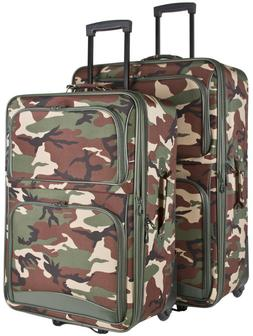 Camo Camouflage Expandable 2 pc Piece Luggage Set for Travel