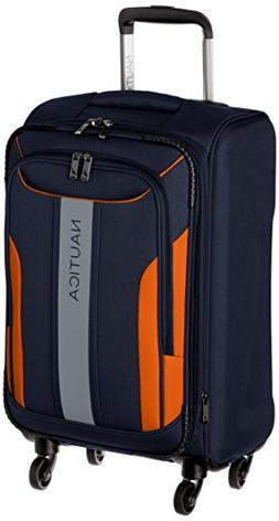 Nautica Carry-On Expandable Spinner Luggage, Navy/Orange