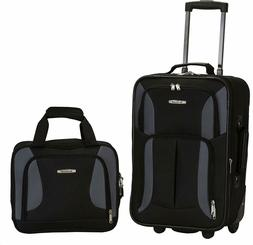 Carry On Luggage Set 2-Piece Rolling Suitcase Tote Bag Black
