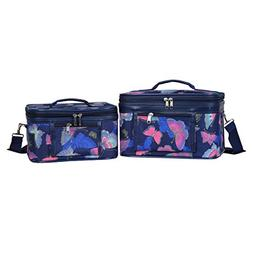 World Traveler Women's 2-Piece Cosmetic Case Set, Pink Butte