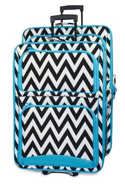 Chevron Striped Expandable 2 pc Piece Luggage Set for Travel