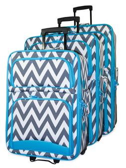 Chevron Striped Expandable 3 pc Piece Luggage Set for Travel