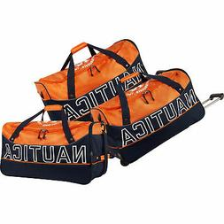 Nautica Chronometer 3 Piece Wheeled Duffle Set Orange/Navy