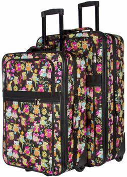 Cute Owl Expandable 2 pc Piece Luggage Set for Travel Soft S