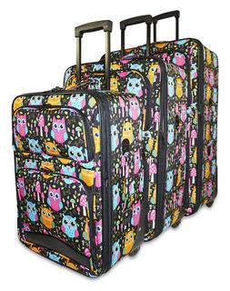 Cute Owl Print Expandable 3 pc Piece Luggage Set for Travel