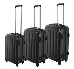 Dejuno Black ABS Hard Case Shell Rolling Spinner Luggage Sui