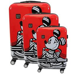 disney striped mickey mouse hard sided luggage