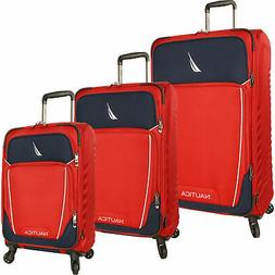 Nautica Dockyard Red Navy 3 Piece Expandable Spinner Luggage
