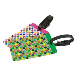 Travelon DOTS Luggage Tags - SET of 2 - NEW - Bright Colors