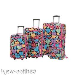 Rockland Expandable 4-pc Luggage Set HEARTS Travel Airline V