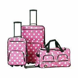 Rockland Fashion Expandable 3-Piece Luggage Set - Pink Dot