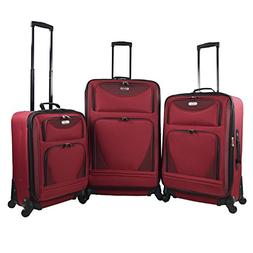 3 piece Expandable Softside Spinner Luggage Set - Red