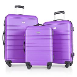 Travel 3 Piece Hardside Luggage Sets with Spinner Wheels Pur