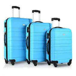 Travel 3 Piece Hardside Luggage Sets with Spinner Wheels Blu