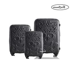 BeaSumore Fashion 3d skull Rolling <font><b>Luggage</b></fon