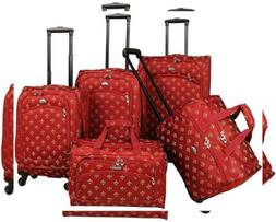 American Flyer Fleur De Lis 5-Piece Spinner Luggage Set, Red