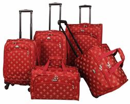 American Flyer Fleur De Lis 5 Piece Spinner Luggage Set Red