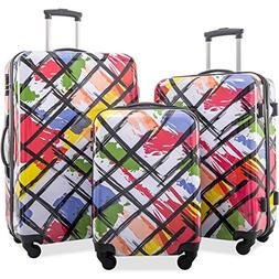 Flieks Graphic Print Luggage Set 3 Piece ABS + PC Spinner Tr