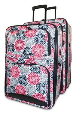 Floral Flower Expandable 2 pc Piece Luggage Set for Travel S