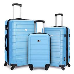 FOCHIER 3 Piece Luggage Sets Hardshell Expandable Suitcase w