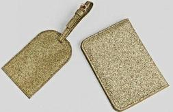 Francesca's Gold Glitter Luggage Tag and Passport Holder Set