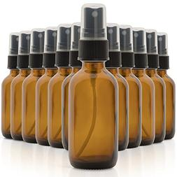 Set of 12, 2oz Amber Glass Spray Bottles for Essential Oils