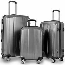 "GLOBALWAY 20"" 24"" 28"" 3Pc Luggage Set ABS+PC Trolley Suitcas"